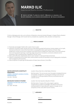 Front Office Manager (Pre Opening, Opening) Resume Sample and Template
