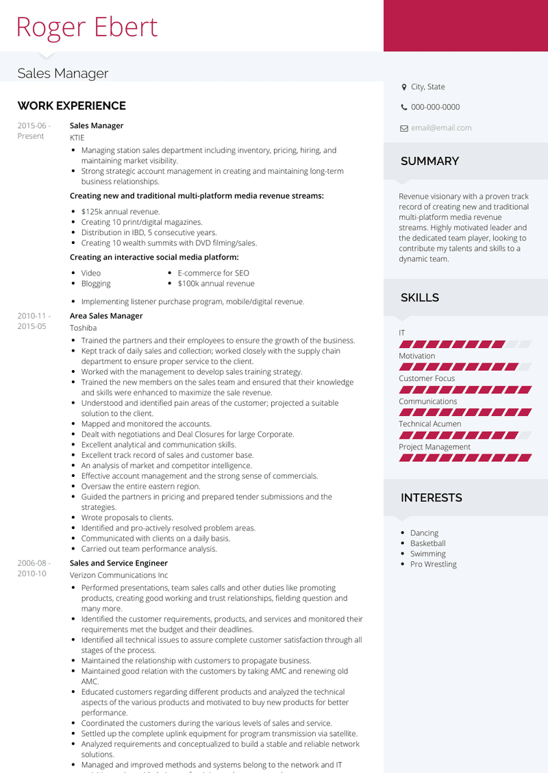 sales manager  resume samples and templates  visualcv