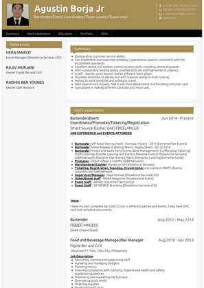 Bartender/event Coordinator/promoter/ticketing/registration Resume Sample and Template
