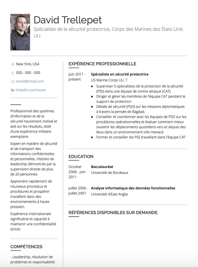 Exemples Militaire de CV et des échantillons de CV en ...