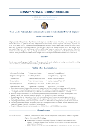 Network, Telecommunication And Security Team Leader/senior Network Engineer Resume Sample and Template
