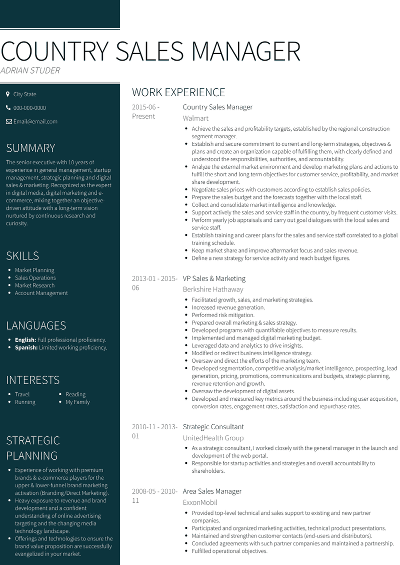 Country Sales Manager Resume Samples And Templates Visualcv