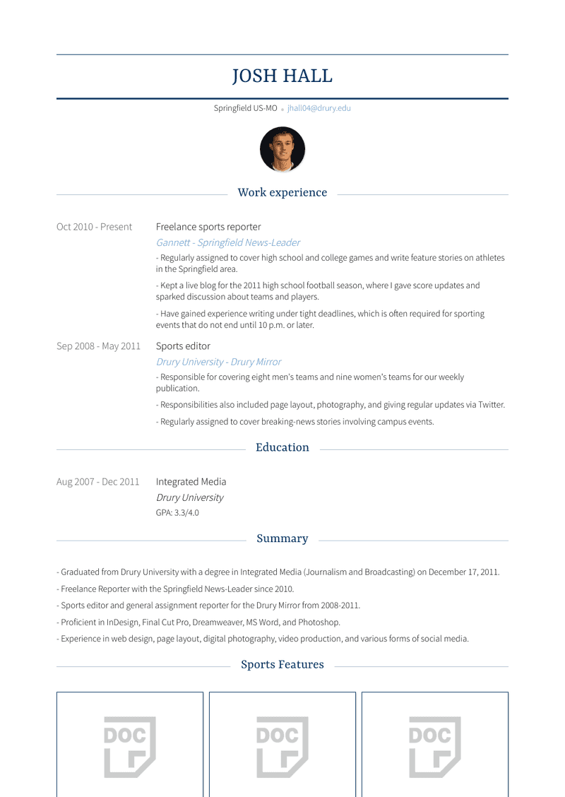 Freelance Sports Reporter Resume Sample and Template
