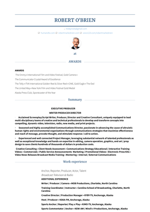 Anchor, Reporter, Producer, Actor, Talent Resume Sample and Template
