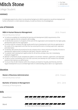 College Student CV Example and Template