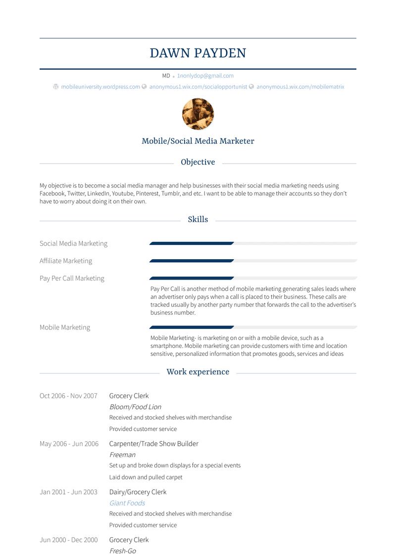 grocery  resume samples and templates  visualcv