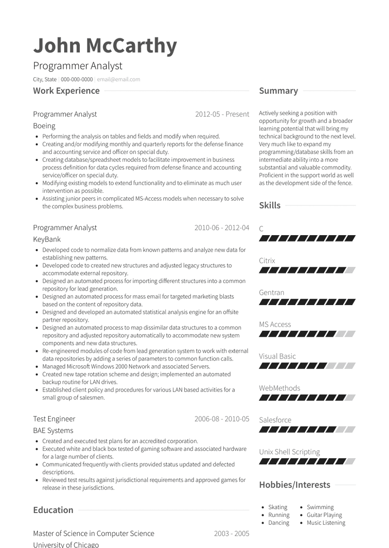 Programmer Analyst Resume Samples And Templates Visualcv