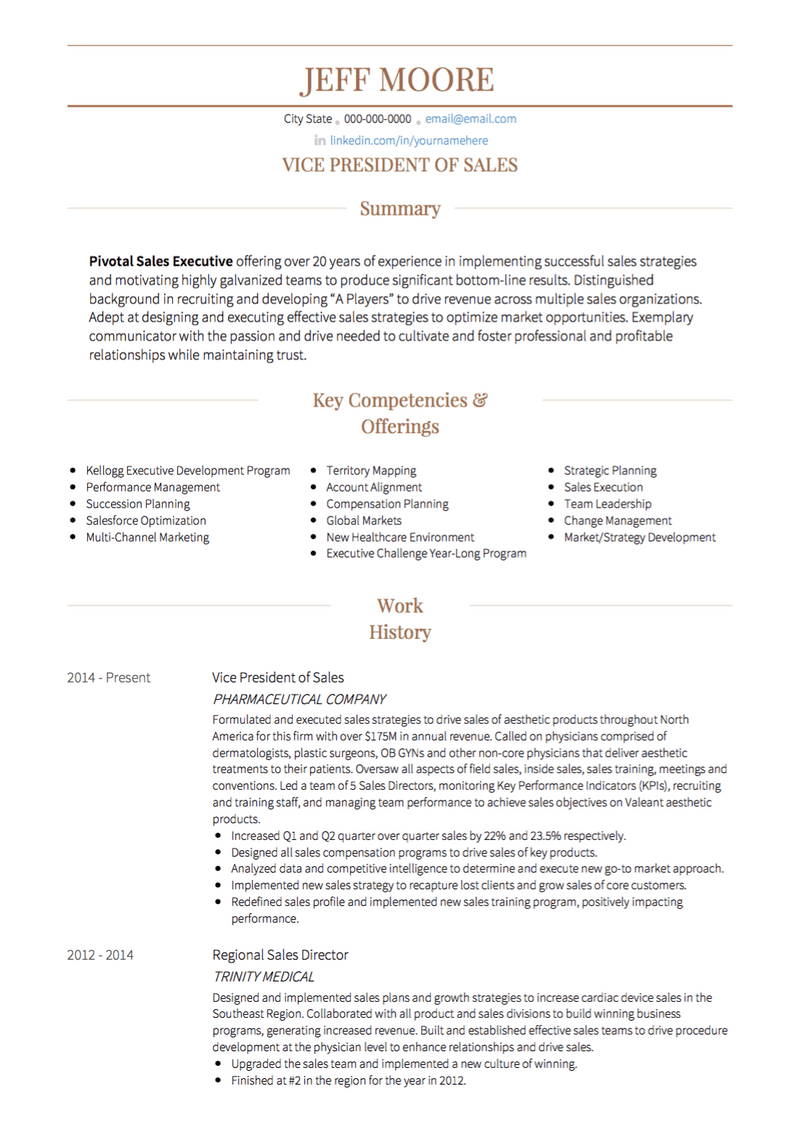 Sales CV Example and Template