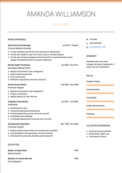 Social Work CV Example and Template