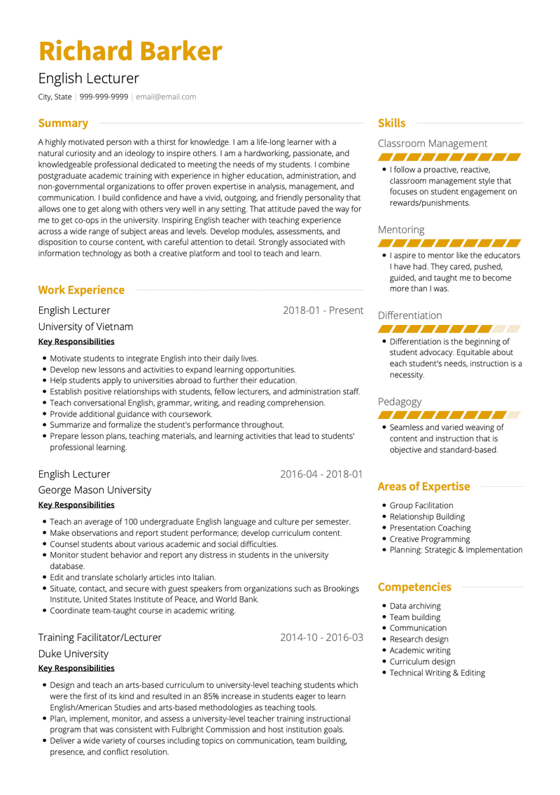 Lecturer CV Example and Template