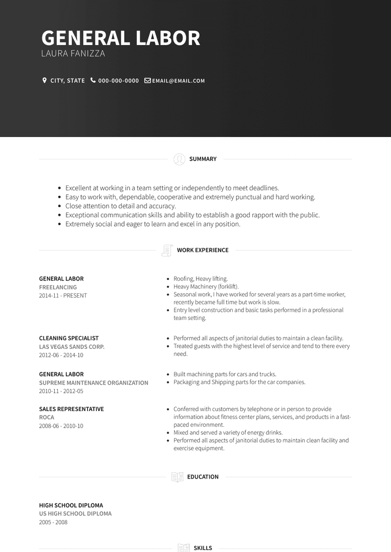 General Labor Resume Samples And Templates Visualcv