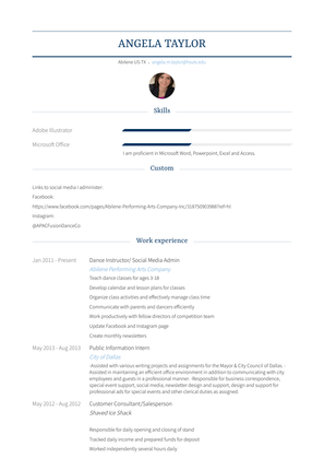 Dance Instructor/ Social Media Admin Resume Sample and Template