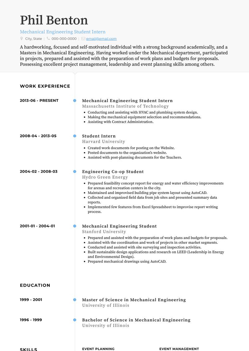Student Intern Resume Samples And Templates Visualcv