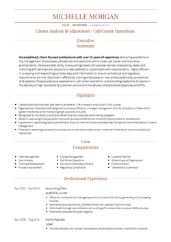 Call Center CV Example and Template