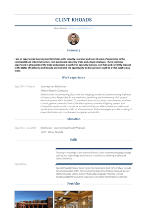 Journeyman Electrician Resume Sample and Template