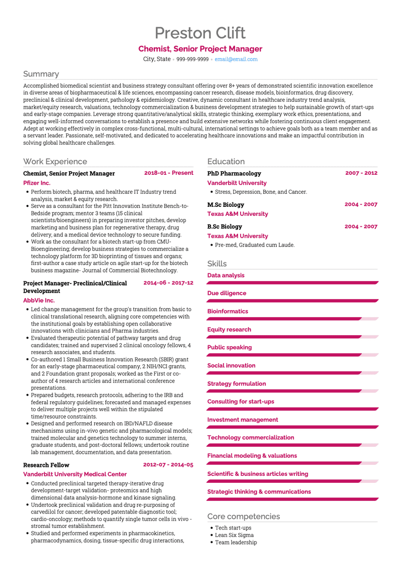Chemist CV Example and Template