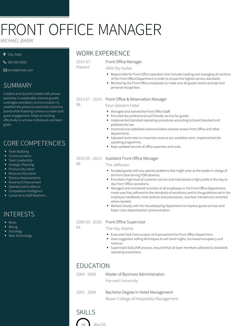 Front Office Manager Resume Samples And Templates Visualcv
