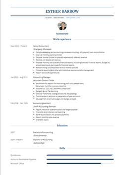 Accountant CV Example and Template