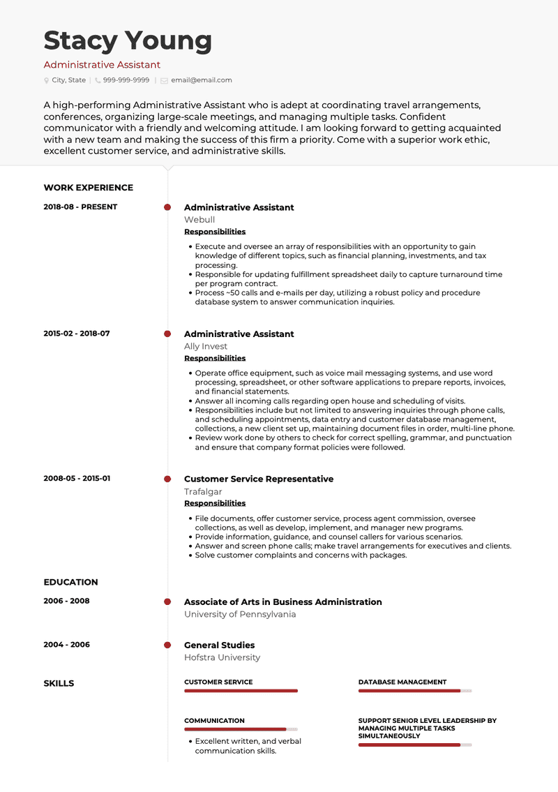 Administrative Assistant CV Example and Template