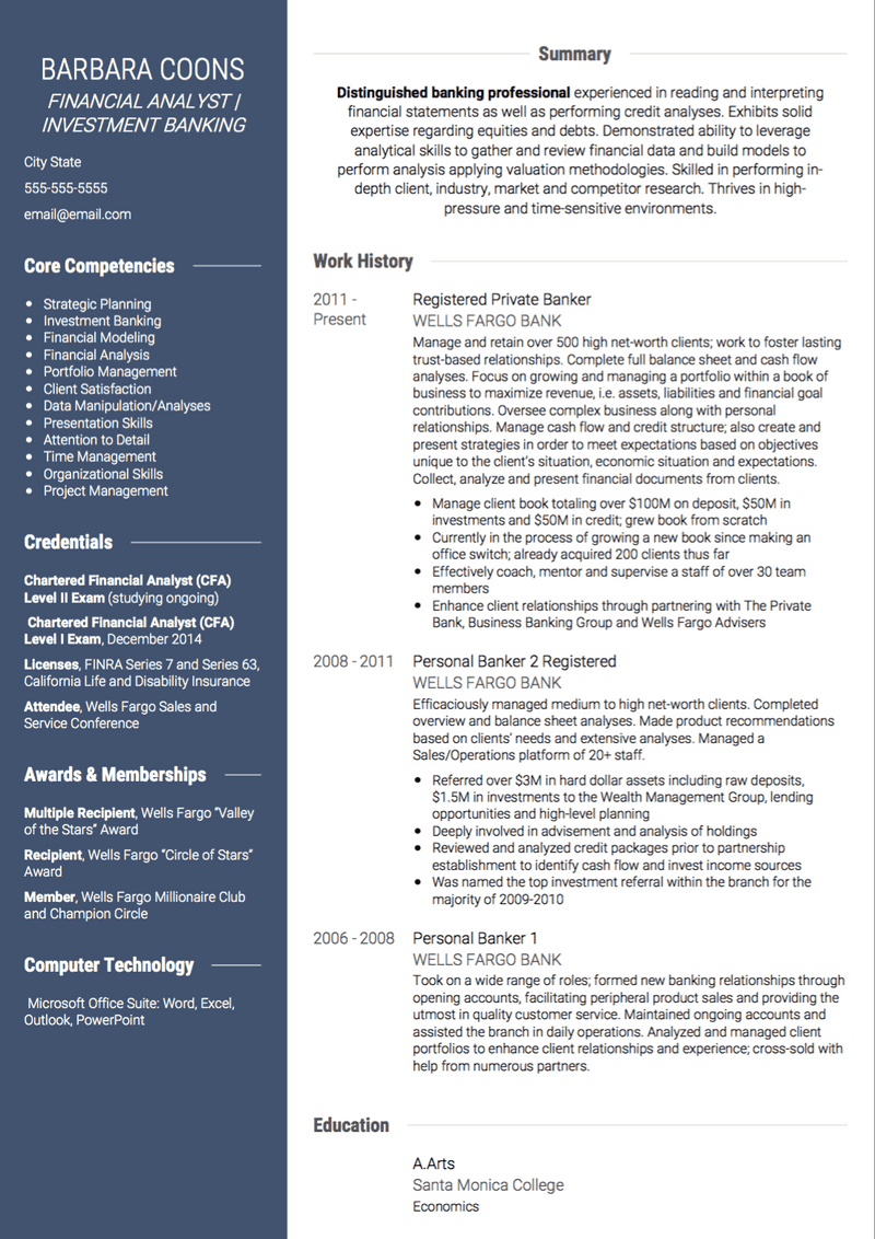 Investment Banking CV Example and Template