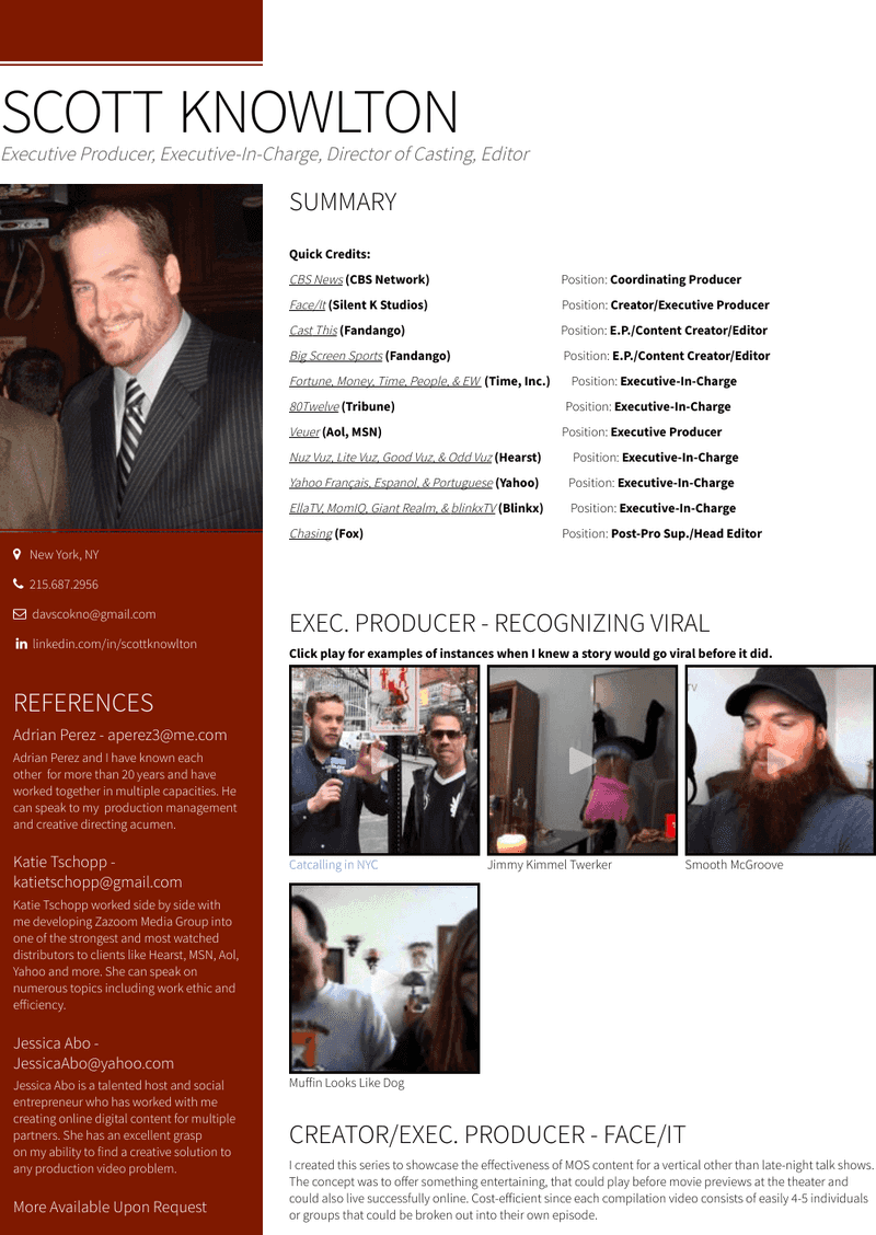 Director, Production Operations & Casting / Senior Producer Resume Sample and Template