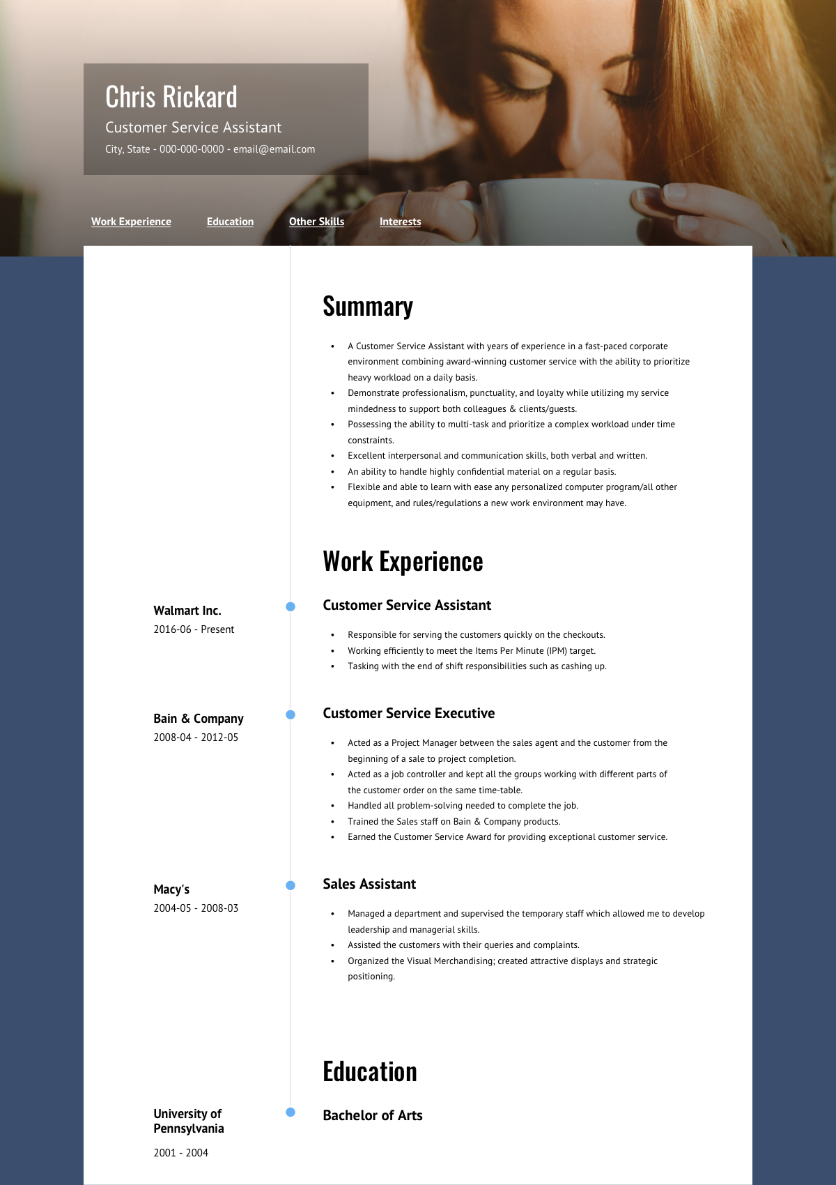 online resume template  about  visualcv