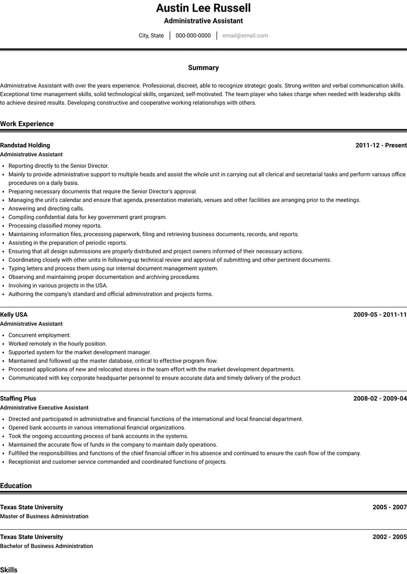 Administrative Assistant Resume Samples And Templates Visualcv