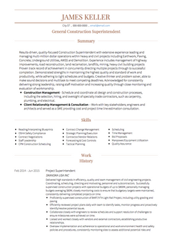 Construction Worker CV Example and Template