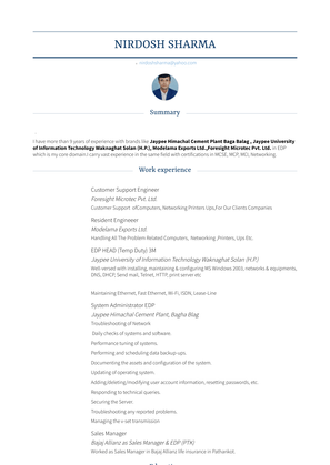 Customer Support Engineer Resume Sample and Template