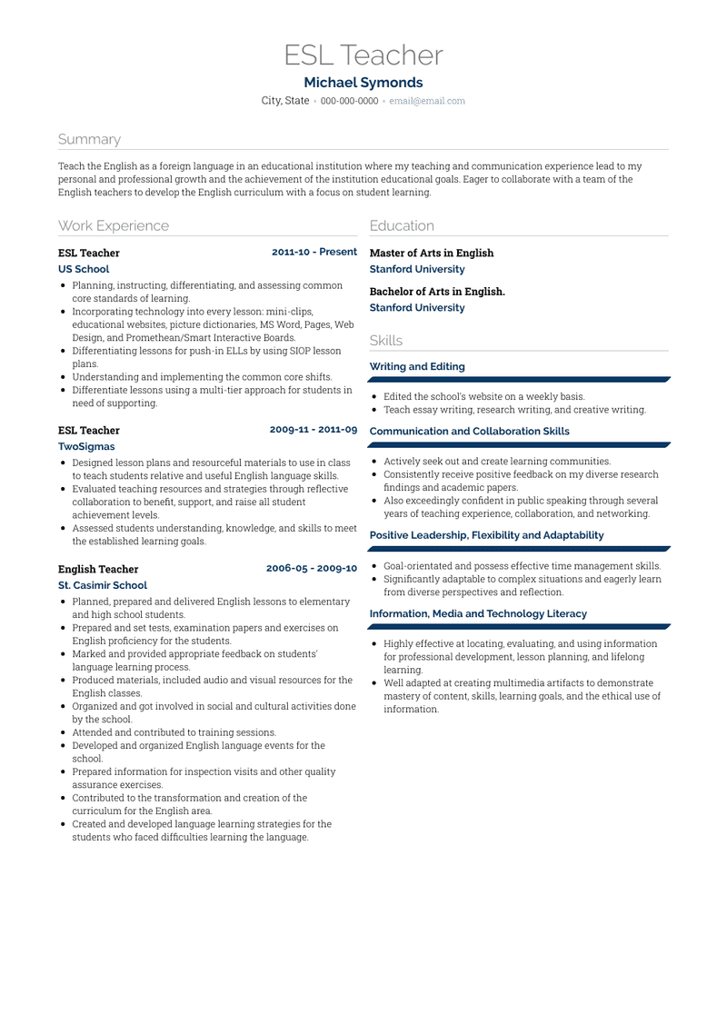 Esl Teacher Resume Samples And Templates Visualcv