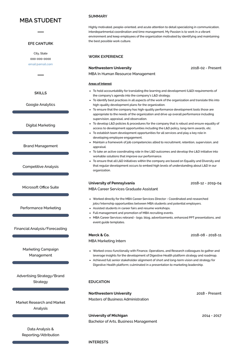 Mba Student Resume Samples And Templates Visualcv