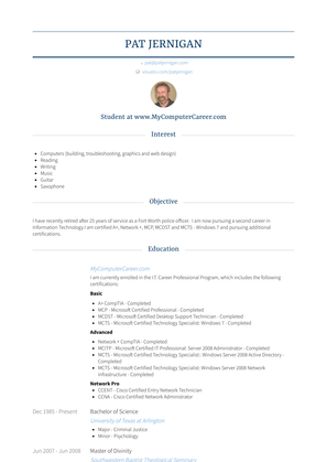 Corporal / Detective Resume Sample and Template