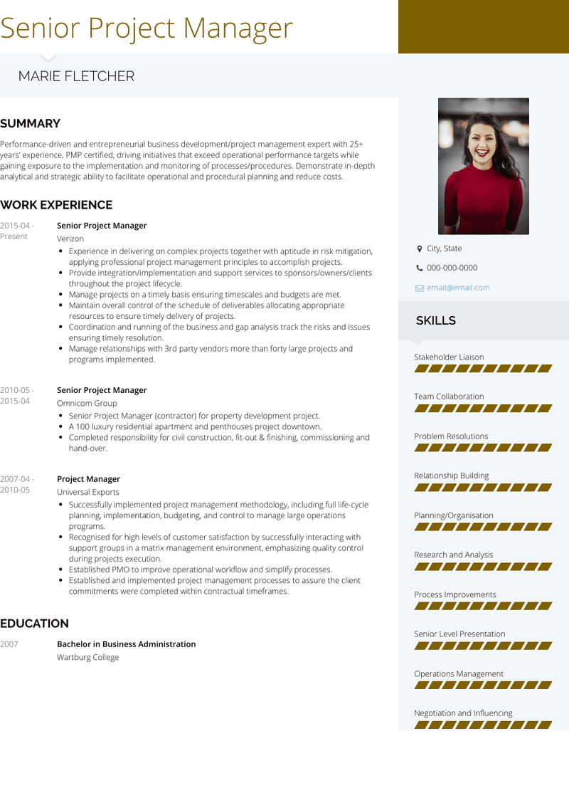 senior project manager  resume samples and templates