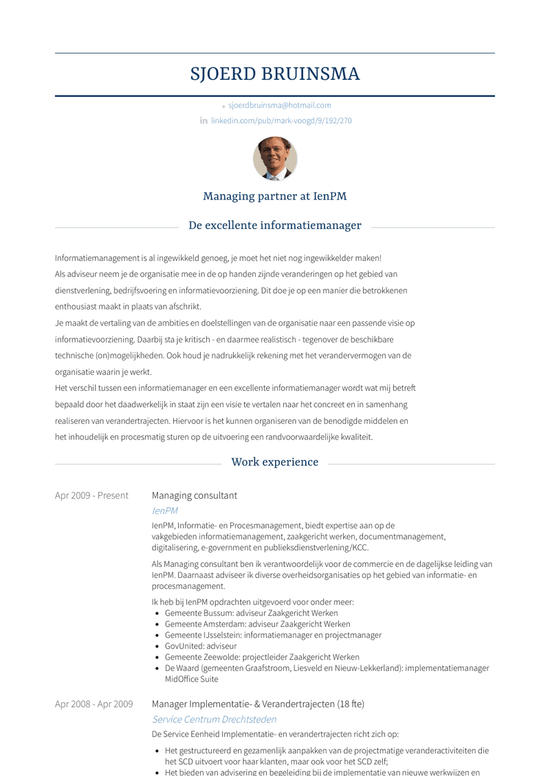 Managing Consultant Resume Sample and Template