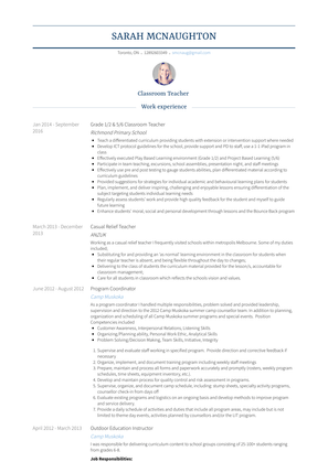 Classroom Teacher Resume Sample and Template
