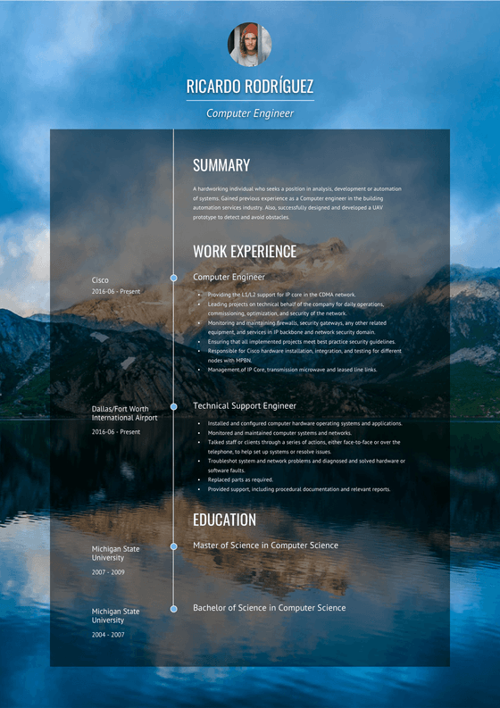 Creative Resume Template and Example - Verge by VisualCV