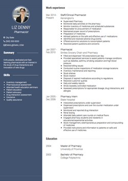 Pharmacist CV Example and Template