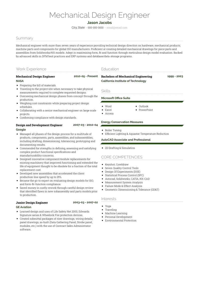 Mechanical Design Engineer Resume Samples And Templates Visualcv