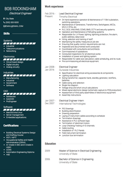 Electrical Engineer CV Example and Template