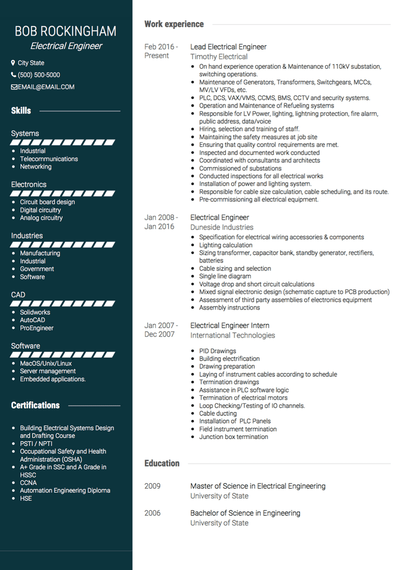 Electrical Engineer Cv Examples Templates Visualcv