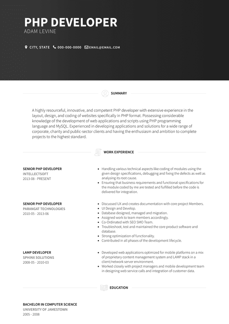 Php Developer Resume Samples And Templates Visualcv